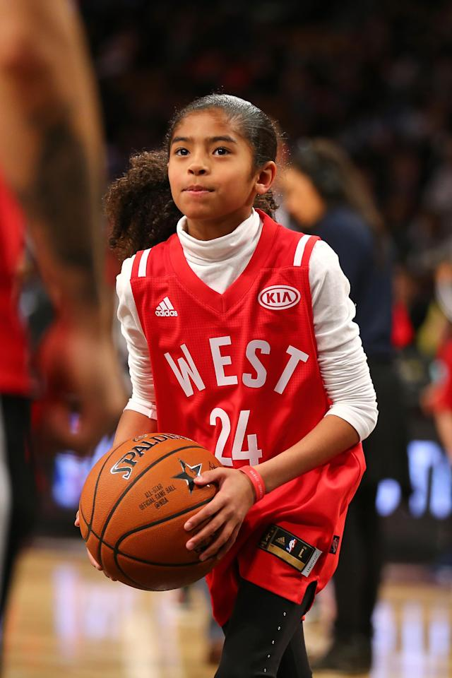 Gianna Bryant dribbles the ball during warm ups before the NBA All-Star Game 2016 at the Air Canada Centre on February 14, 2016 in Toronto, Ontario. (Photo by Elsa/Getty Images)
