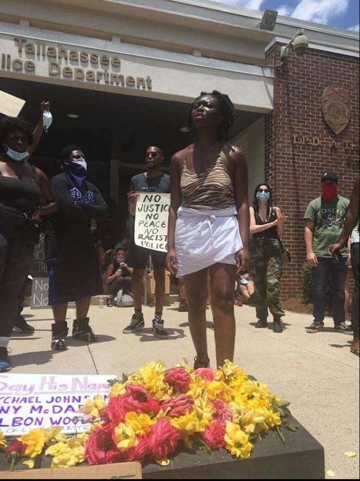 Black Lives Matter demonstrator Oluwatoyin Salau, pictured during a protest at Tallahassee Police Department, has been missing since June 6.