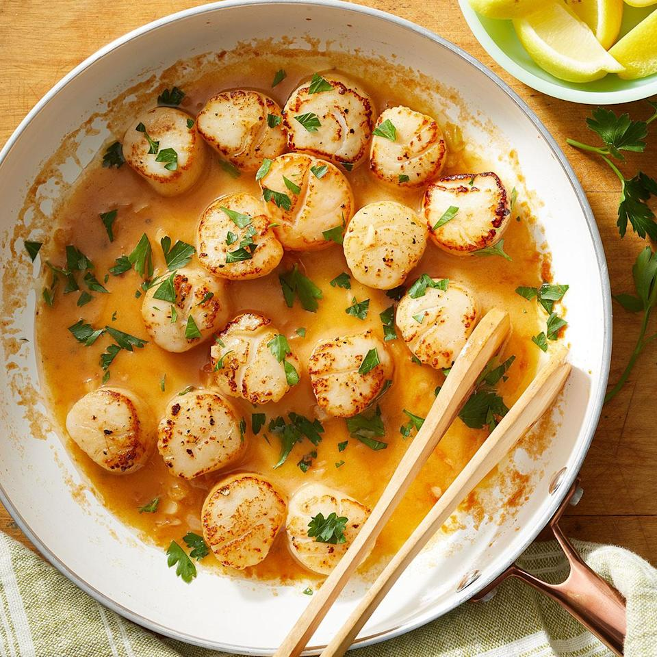 <p>Lemon brightens up sweet scallops in this simple, light dinner. Serve the scallops alongside sautéed spinach with a piece of toasted whole-grain bread to sop up the buttery sauce.</p>