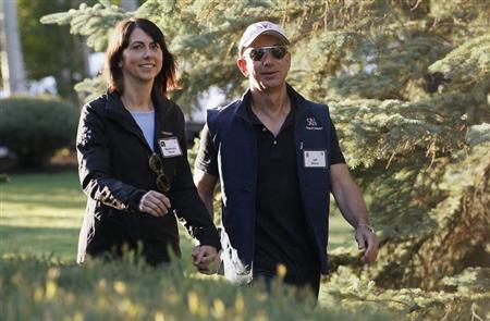 Amazon CEO Bezos and wife MacKenzie arrive at the annual Allen and Co. conference at the Sun Valley