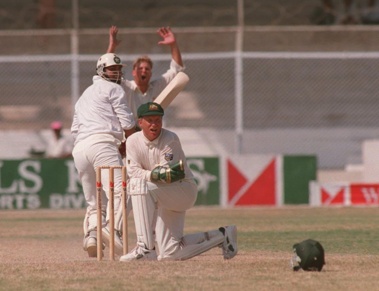 2 OCT 1994:  AUSTRALIAN WICKET-KEEPER IAN HEALY CAN ONLY WATCH AS SHANE WARNE's BALL TO PAKISTAN's INZAMAM UL-HAQ RUNS FOR 4 LEG BYES TO GIVE PAKISTAN VICTORY IN THE FIRST TEST MATCH IN KARACHI BY ONE WICKET. Mandatory Credit: Shaun Botterill/ALLSPORT