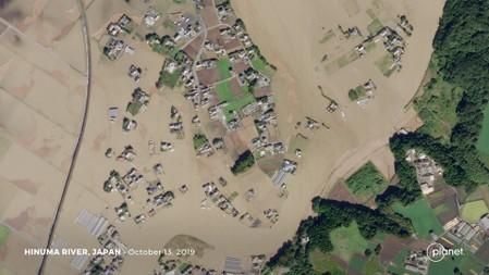 Satellite image shows the flooded Hinuma River in the aftermath of Typhoon Hagibis in Japan