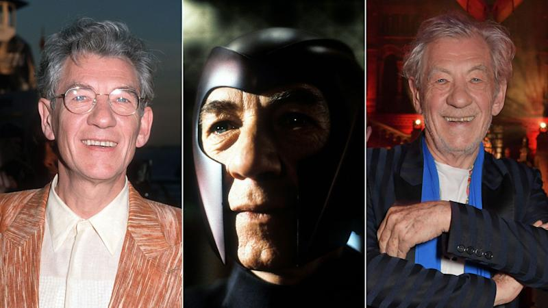 Sir Ian McKellen - Magneto - pictured (L) at the Ellis Island premiere of <i>X-Men</i> in 2000, and (R) at the Olivier Awards, 2019.