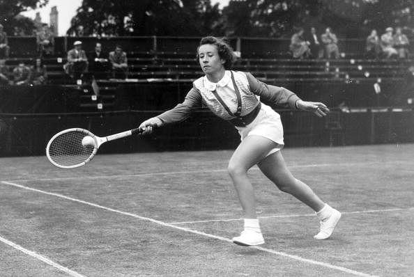 "Maureen Connolly, USA, playing in the Northern Championships in Manchester, Maureen Connolly, known as ""Little Mo"" won the Ladies Singles Championships at Wimbledon 3 years running, 1952, 1953, 1954"
