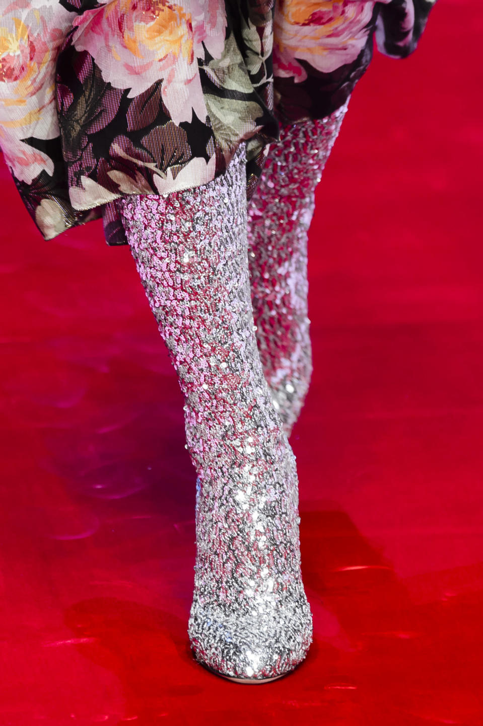 <p><i>Silver crystal beaded boots from the SS18 Dolce & Gabbana collection. (Photo: ImaxTree) </i></p>