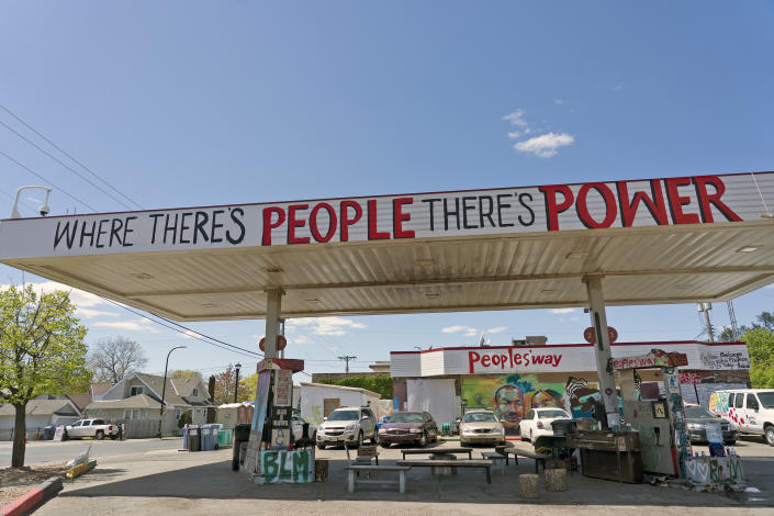 At George Floyd Square, a former gas station has been transformed into a place to mourn Black lives lost to police brutality. (Judy Griesedieck for Yahoo News)