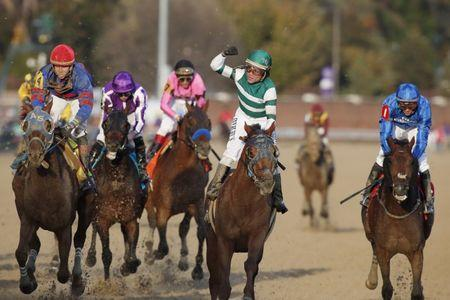 Nov 3, 2018; Louisville, KY, USA; Jockey Joel Rosario board Accelerate wins the Breeders Cup Classic during the 35th Breeders Cup world championships at Churchill Downs. Mandatory Credit: Brian Spurlock-USA TODAY Sports