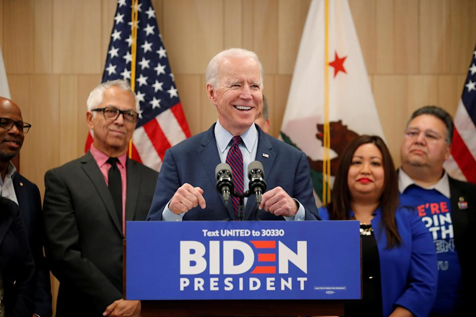 Democratic U.S. presidential candidate and former Vice President Joe Biden speaks during a campaign stop in Los Angeles, California, U.S., March 4, 2020. REUTERS/Mike Blake TPX IMAGES OF THE DAY