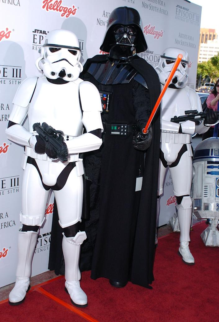 "Darth Vader and Imperial Stormtroopers during ""Star Wars: Episode III - Revenge of The Sith"" Premiere to Benefit Artists for a New South Africa Charity - Arrivals at Mann's Village Theater in Westwood, California, United States."