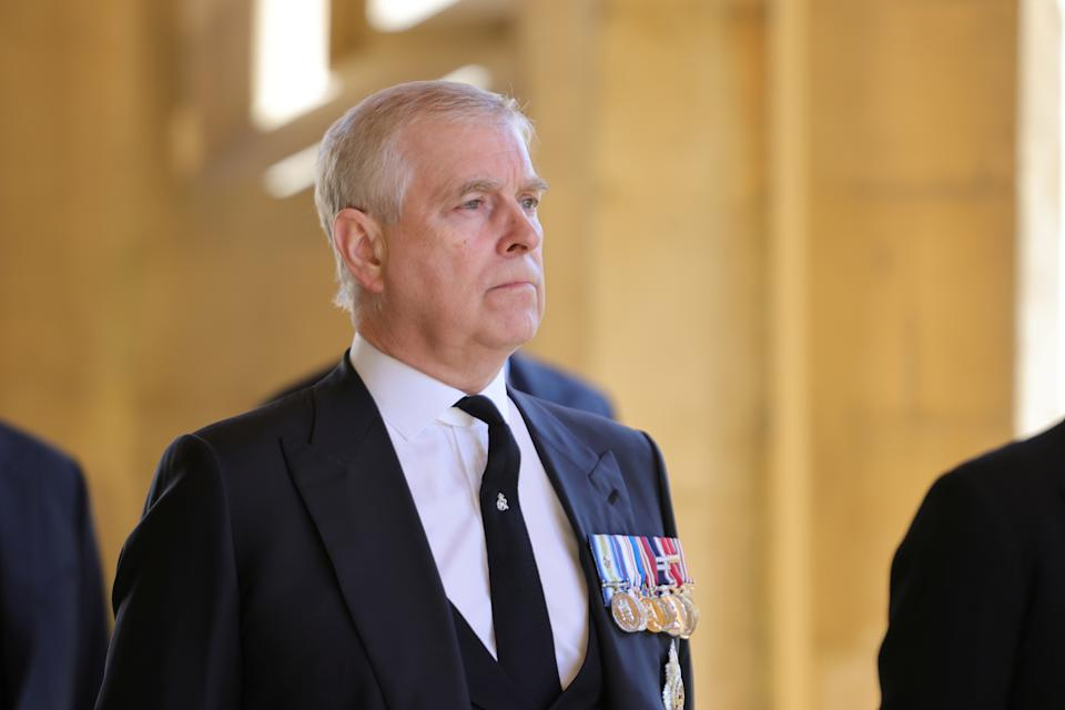 Britain's Britain's Prince Andrew, Duke of York, looks on during the funeral of Britain's Prince Philip, husband of Queen Elizabeth, who died at the age of 99, in Windsor, Britain, April 17, 2021. Chris Jackson/Pool via REUTERS