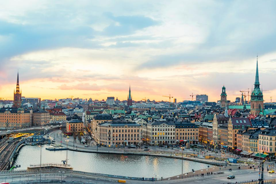 Stockholm cityscape with beautiful buildings of Gamla Stan (Old Town) at sunset , Sweden
