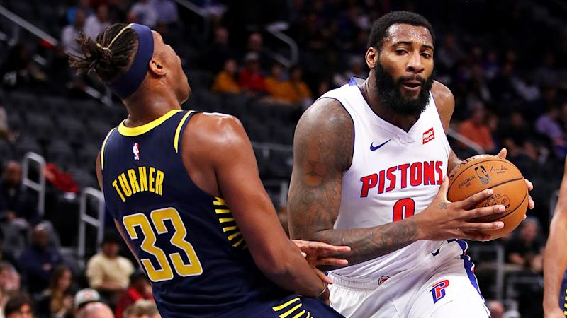 Seen here Andre Drummond drives the ball to the basket for the Detroit Pistons.