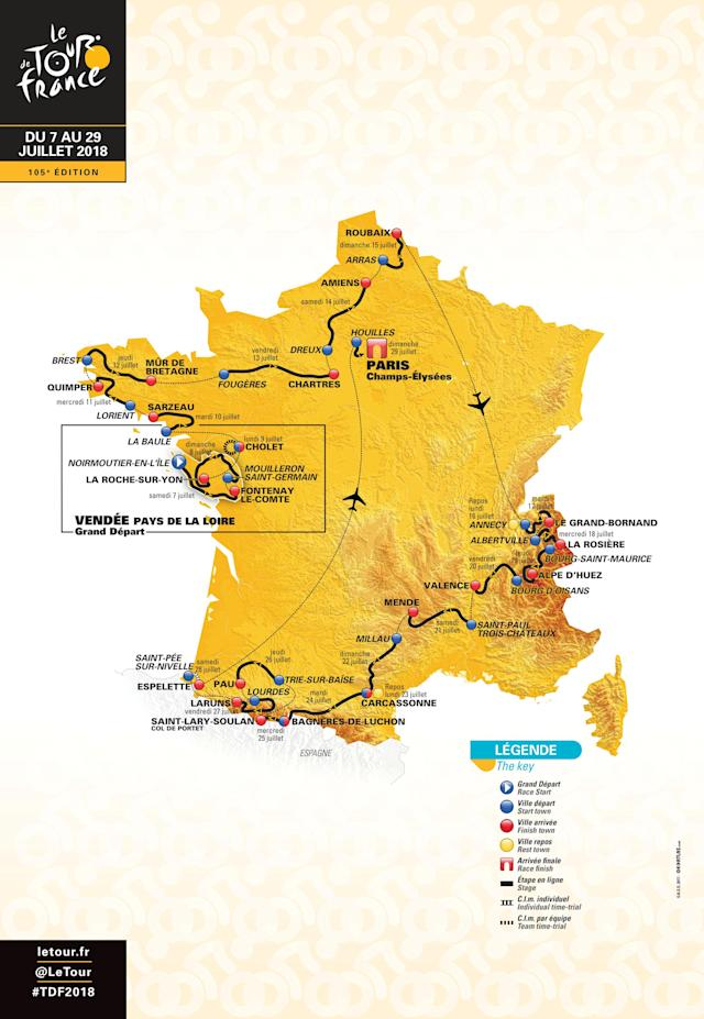 A map of the itinerary of the 2018 Tour de France cycling race, is presented during a news conference in Paris, France, in this handout picture released by ASO, on October 17, 2017. The world's greatest cycling event, which will start from Noirmoutier-en-L'Ile on July 7 and will finish at the Champs Elysees in Paris on July 29. ASO/Handout via REUTERS ATTENTION EDITORS - THIS IMAGE WAS PROVIDED BY A THIRD PARTY.