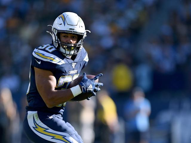 """Chargers running back Austin Ekeler had 92 receptions last season, but only one came on a pass from Tyrod Taylor, who is scheduled to be the starter in 2020. <span class=""""copyright"""">(Harry How / Getty Images)</span>"""