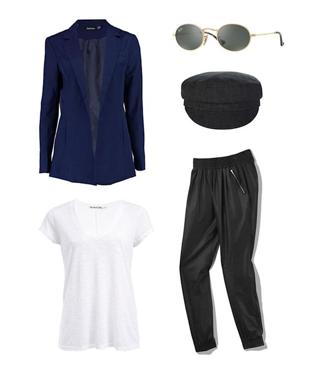 <p>An easy style (and price) hack for Cabello's look is opting for athleisure trousers in similar reflective, nylon fabric. Then, pull out one of your favorite old white tees and style it with a navy blazer, newsboy cap, and John Lennon sunglasses. </p>