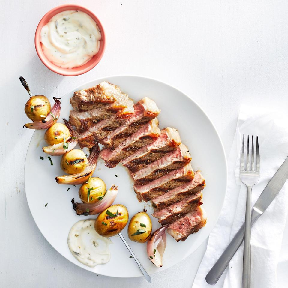 Grilled Steaks with Potato Skewers