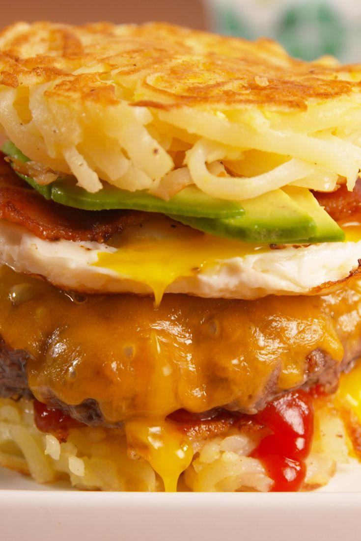 """<p>Breakfast for dinner, meet burger for dinner.</p><p>Get the recipe from <a href=""""/cooking/recipe-ideas/recipes/a52783/breakfast-burgers-recipe/"""" data-ylk=""""slk:Delish"""" class=""""link rapid-noclick-resp"""">Delish</a>. </p>"""