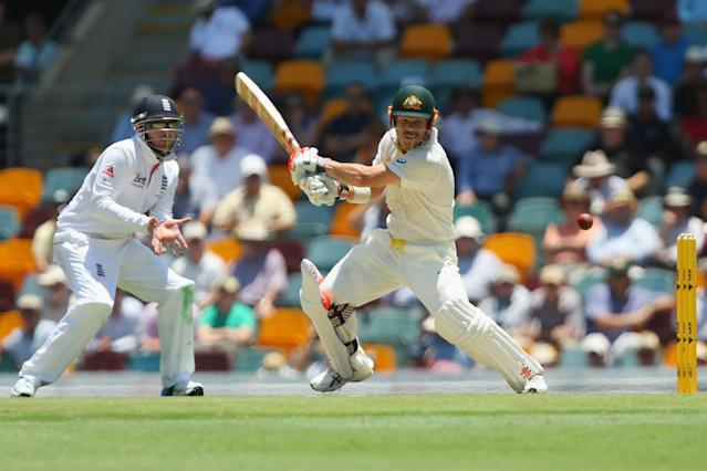 BRISBANE, AUSTRALIA - NOVEMBER 21: David Warner of Australia bats during day one of the First Ashes Test match between Australia and England at The Gabba on November 21, 2013 in Brisbane, Australia. (Photo by Chris Hyde/Getty Images)