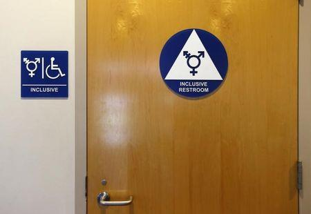 A gender neutral bathroom is seen at the University of California, Irvine