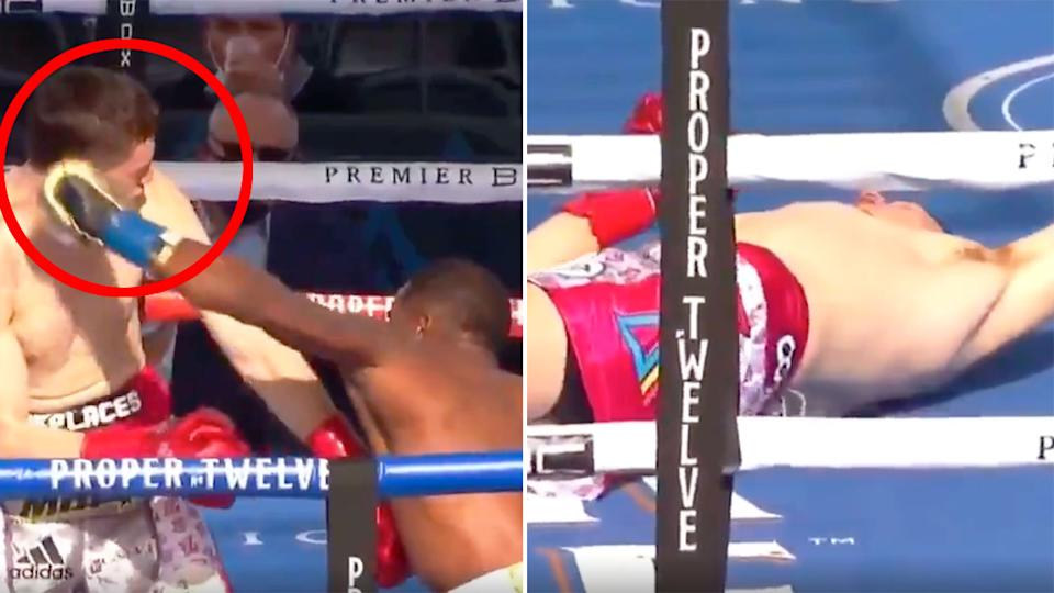 Pictured here, Erislandy Lara delivers a stunning knock out of Thomas Lamanna.