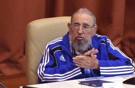Cuba's former president Fidel Castro attends the closing ceremony of the seventh Cuban Communist Party (PCC) congress in Havana