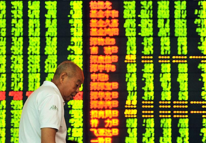 Shanghai shares collapsed 8.49 percent on Monday, sparking a vast sell-off in global financial markets (AFP Photo/)