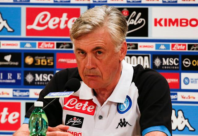 New Napoli's coach Carlo Ancelotti looks on during a news conference in Dimaro, northern Italy July 11, 2018. REUTERS/Ciro De Luca