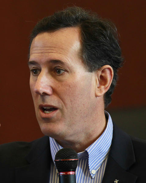 In this photo taken, Thursday, March 1, 2012, Republican presidential candidate, former Pennsylvania Sen. Rick Santorum speaks in Dalton, Ga. With no end in sight, the Republican presidential nomination fight may end up mirroring the epic 2008 battle between Democrats Barack Obama and Hillary Rodham Clinton that stretched into June. But Length may be the only true parallel to draw between the two races. (AP Photo/John Bazemore)