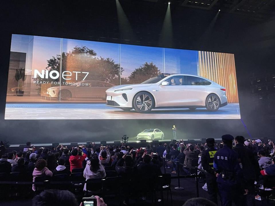 William Li Bin, chief executive of NIO, on stage during the launch of the carmaker's ET7 sports-utility vehicle in the Sichuan provincial capital of Chengdu on January 9, 2021. Photo: Daniel Ren