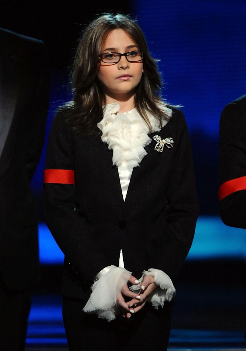 Paris pictured in January 2010 at the Grammy Awards aged 11, had to deal with being in the spotlight from the start. Source: Getty
