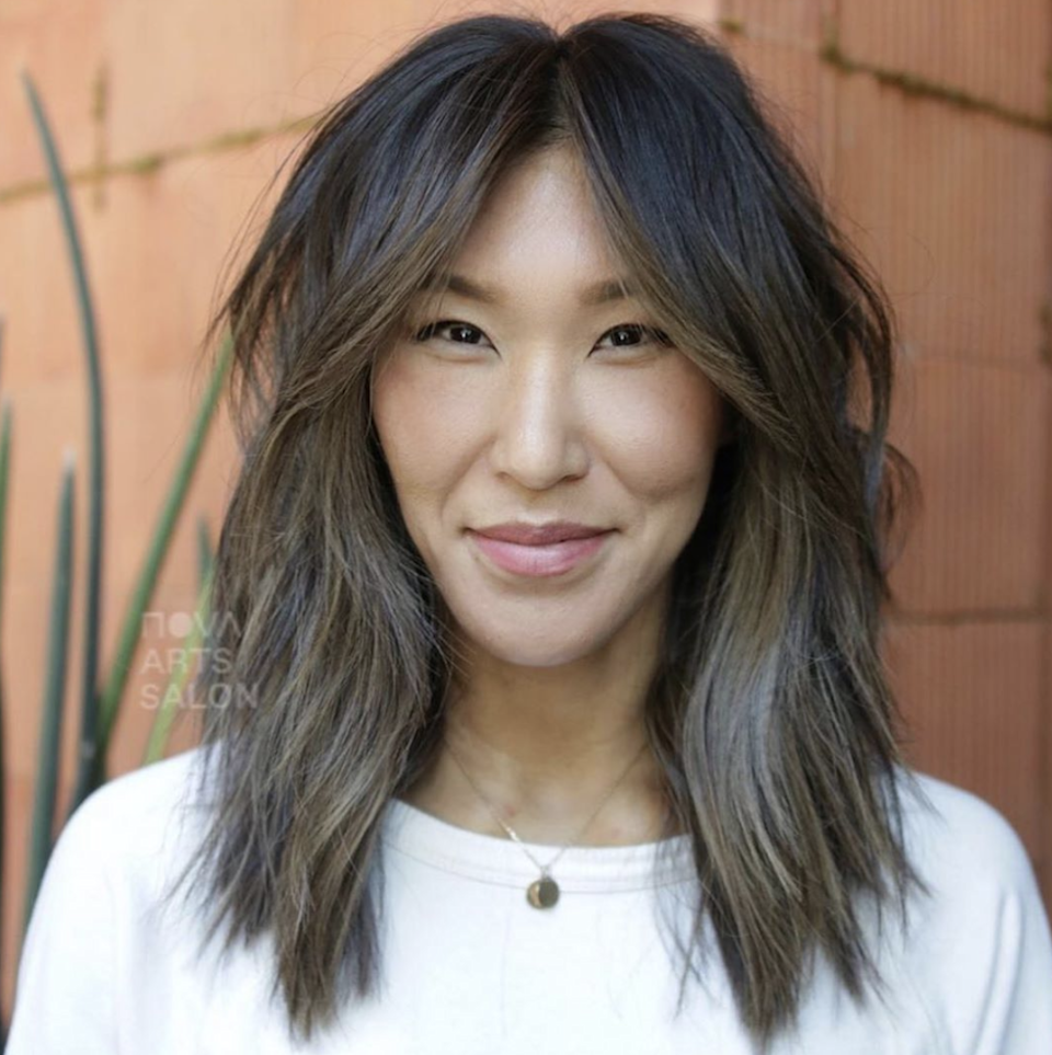 It's really hard to go wrong with a lob, it works with pretty much every face shape, hair texture, and style preference. For something a little edgier, take your lob into shag territory with curtain bangs and choppy layers.
