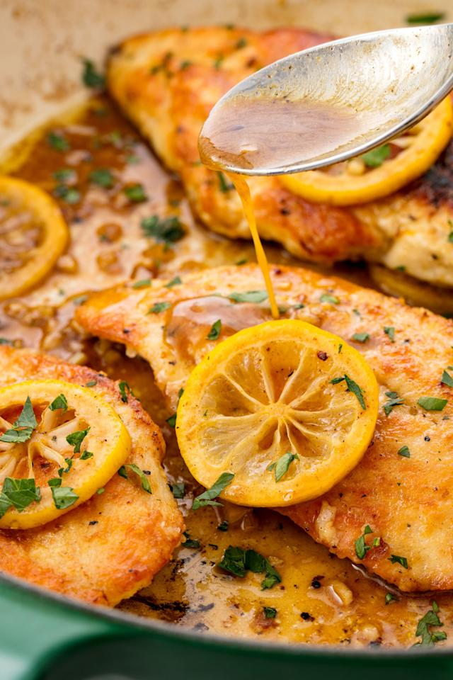 "<p><span>This lemon pepper chicken makes chicken exciting again.</span></p><p>Get the recipe from <a rel=""nofollow"" href=""http://www.delish.com/cooking/recipe-ideas/recipes/a55218/lemon-pepper-baked-chicken-breast-recipe/"">Delish</a>.</p><p><em><strong>BUY NOW: Le Creuset Cast-Iron 12"" Skillet, $200; </strong></em><em><strong><a rel=""nofollow"" href=""https://www.amazon.com/Creuset-Signature-Handle-Skillet-4-Inch/dp/B00B4UOTBQ/?tag=syndication-20"">amazon.com</a>.</strong></em><span></span><br></p>"