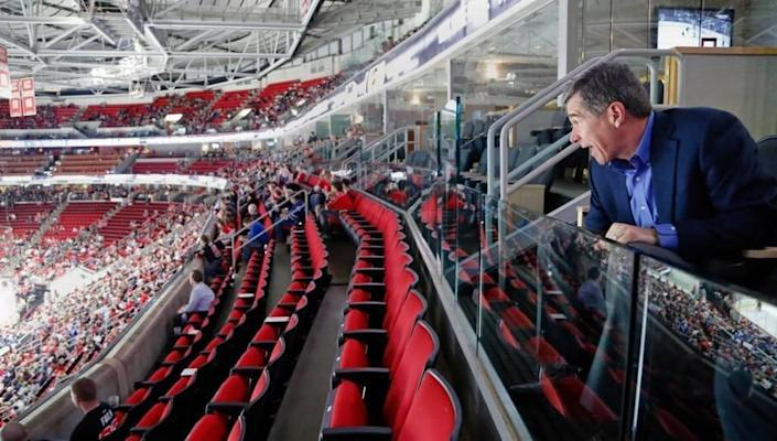 Gov. Roy Cooper watches the action during an NHL game played between the Carolina Hurricanes and the Toronto Maple Leafs at PNC Arena in Raleigh, N.C. on Feb. 19, 2017. He is an avid Canes hockey fan; he has attended many games going back to the days when they played in the 2002 Stanley Cup playoffs.