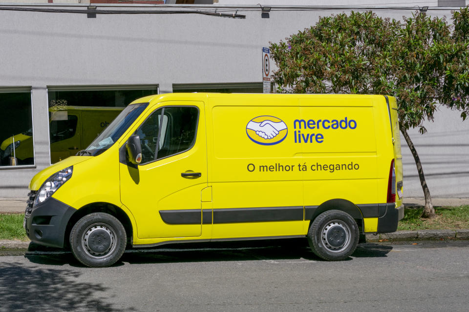 Minas Gerais, Brazil - April 24, 2021: van from the Mercado Livre company delivering parcels. increased internet purchases during the pandemic
