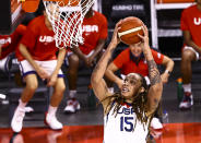 United States center Brittney Griner lays up the ball during the first half of a pre-Olympic exhibition basketball game against Nigeria in Las Vegas on Sunday, July 18, 2021. (Chase Stevens/Las Vegas Review-Journal via AP)