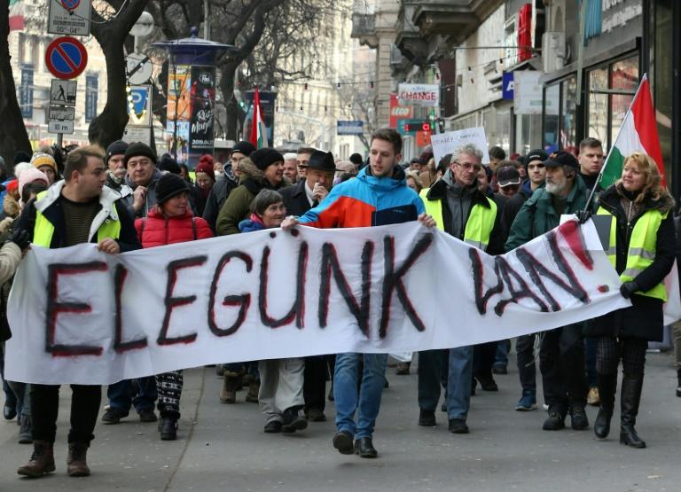 "Protesters hold a banner reading ""It's enough!"" during a march against the policies of Hungary's Prime Minister Viktor Orban in January 2019"