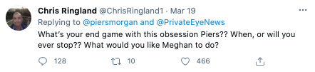 Screenshots of Twitter reacts to Piers Morgan's 'attack' on Meghan Markle. Photo: Twitter.