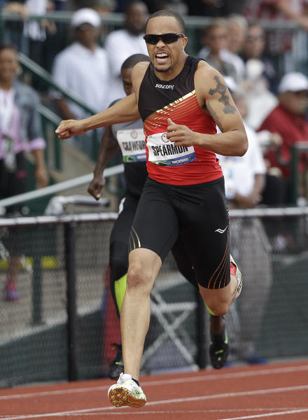 Wallace Spearmon Jr., finishes first in the men's 200 meter final at the U.S. Olympic Track and Field Trials Sunday, July 1, 2012, in Eugene, Ore. (AP Photo/Marcio Jose Sanchez)