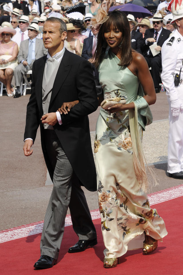 <p>There was perhaps fear Naomi Campbell might upstage the bride when she attended the wedding of Prince Albert and Charlene Wittstock in Monaco wearing a silk, one shouldered floral gown which she paired with a decorative headpiece. <br /><em>[Photo: Getty]</em> </p>
