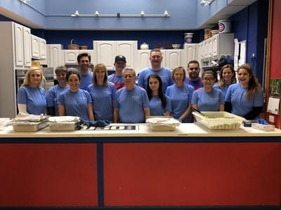Combined Insurance employees volunteering at the USO of Illinois Great Lakes Center.