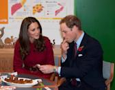 <p>While hanging out with the Danish royals, Will and Kate stopped by a UNICEF emergency supply centre and Kate looked on as Will ate some food. She wore a dark red coat from L.K. Bennett, one of her favorite brands and maker of her trusty nude pumps.</p>