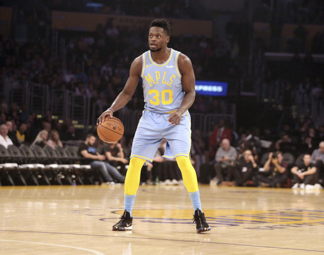 Julius Randle may not fit in the Lakers' rebuilding plan this summer. (AP)