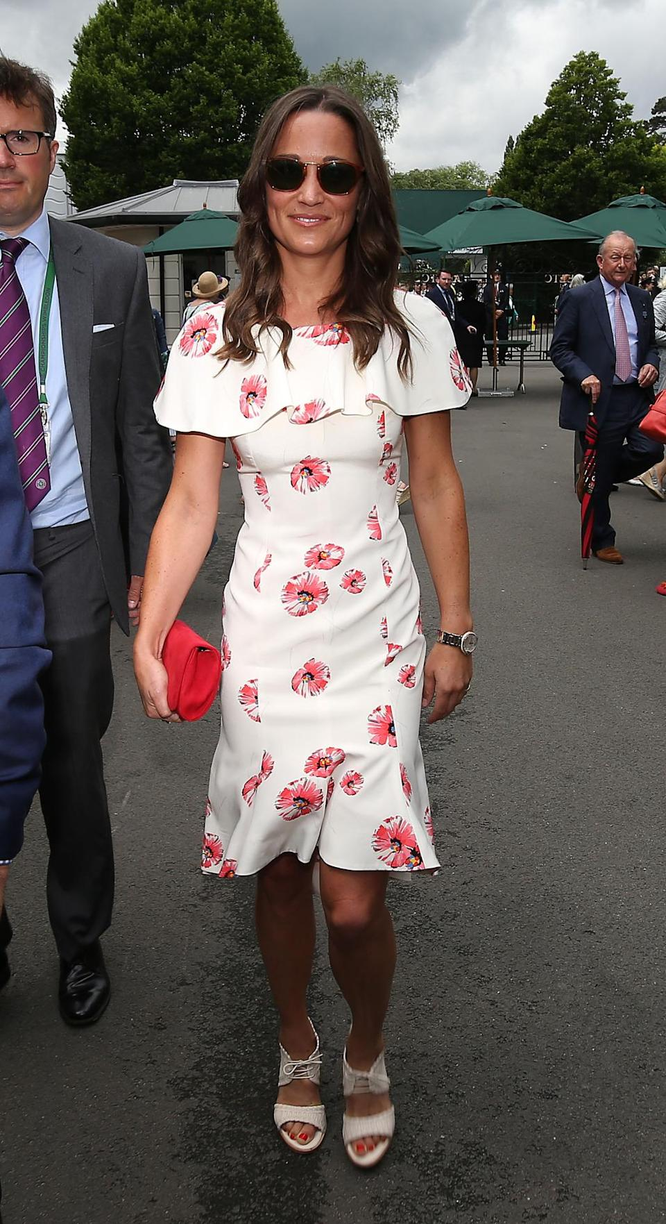 <p>Suzannah was the brand behind this summery floral frock, which Pippa wore to Wimbledon this year. <i>[Photo: PA Images] </i> </p>