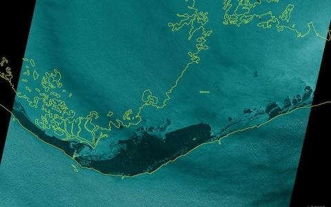 <span>Grand Bahama island, taken midday Monday from the ICEYE-X2 satellite after Dorian hit </span> <span>Credit: ICEYE Satellite photo </span>