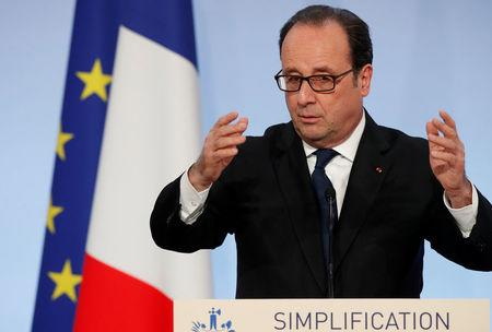 French President Francois Hollande attends an event on state reform and simplification at the Elysee Palace in Paris