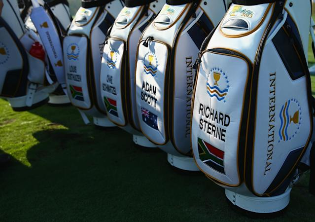 DUBLIN, OH - OCTOBER 01: International Team golf bags are seen on the practice ground prior to the start of The Presidents Cup on October 1, 2013 in Dublin, Ohio. (Photo by Andy Lyons/Getty Images)