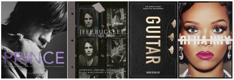 """This combination photo of cover images shows, from left, """"My Name is Prince"""" by Randee St. Nicholas, """"Jeff Buckley: His Own Voice,"""" edited by Mary Guibert and David Browne, """"Guitar: The World's Most Seductive Instrument,"""" by David Schiller and """"Rihanna,"""" by Rihanna. (Amistad/Da Capo Press/Workman Publishing/Phaidon  via AP)"""