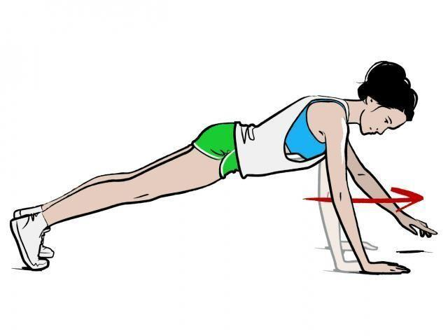 <p><strong>1/</strong> Start in a plank position, with your body in a straight line from head to toe.</p><p><strong>2/ </strong>Slowly walk your hands forward, keeping your hips level and maintaining the line. Walk your hands as far forward as you can while maintaining form, then return to the start – that's one rep. </p>