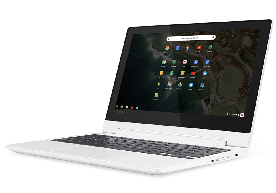 white lenovo chromebook laptop with black screen for college students