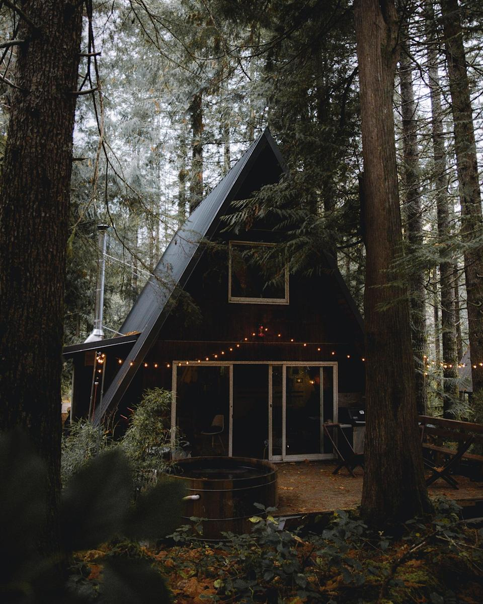 """<p>Dreamy photos of adorable A-frames, impressive tree houses, and rustic <a href=""""https://www.popsugar.com/smart-living/cute-remote-cabin-rentals-in-the-us-47638160"""" class=""""link rapid-noclick-resp"""" rel=""""nofollow noopener"""" target=""""_blank"""" data-ylk=""""slk:cabins"""">cabins</a> with expertly strung lights and inviting hot tubs have been dominating Instagram feeds. Renting one of these bad boys just happens to be the perfect socially distanced getaway for a solo traveler looking for some peace and quiet or a couple, family, or small group of friends. More and more properties are being transformed into idyllic accommodations, and we're pumped to jump on this bandwagon.</p> <p>Sites like <span>Airbnb</span> and <a href=""""http://glampinghub.com/"""" class=""""link rapid-noclick-resp"""" rel=""""nofollow noopener"""" target=""""_blank"""" data-ylk=""""slk:Glampinghub"""">Glampinghub</a>, as well as the catchall search engine <a href=""""http://www.vacationhomerents.com/"""" class=""""link rapid-noclick-resp"""" rel=""""nofollow noopener"""" target=""""_blank"""" data-ylk=""""slk:VacationHomeRents"""">VacationHomeRents</a>, are chock-full of these cabins to make your rental fantasies come true. This type of trending travel allows you to go as remote as you'd like, cook your own meals, and embrace nature. Bring on the hot tubs, fireplaces, and hammocks!</p>"""